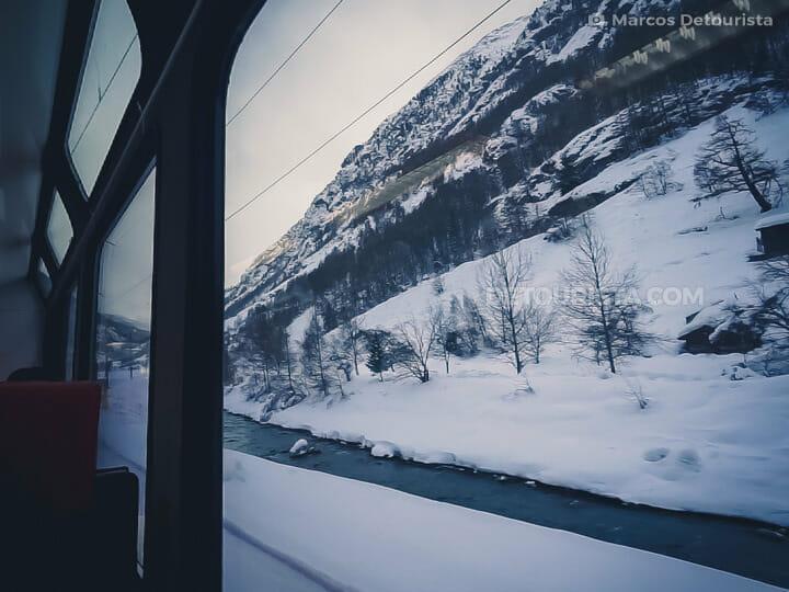 Alpine views on the Zermatt-Visp Glacial Express train, in Switz