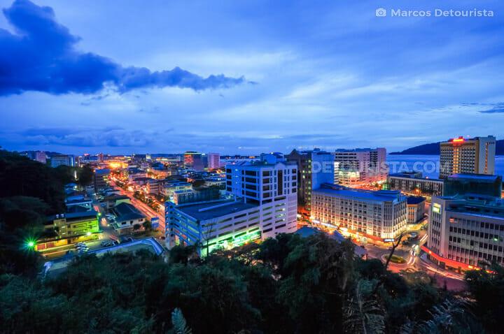 Kota Kinabalu dusk view from Signal Hill, in Sabah, Malaysia