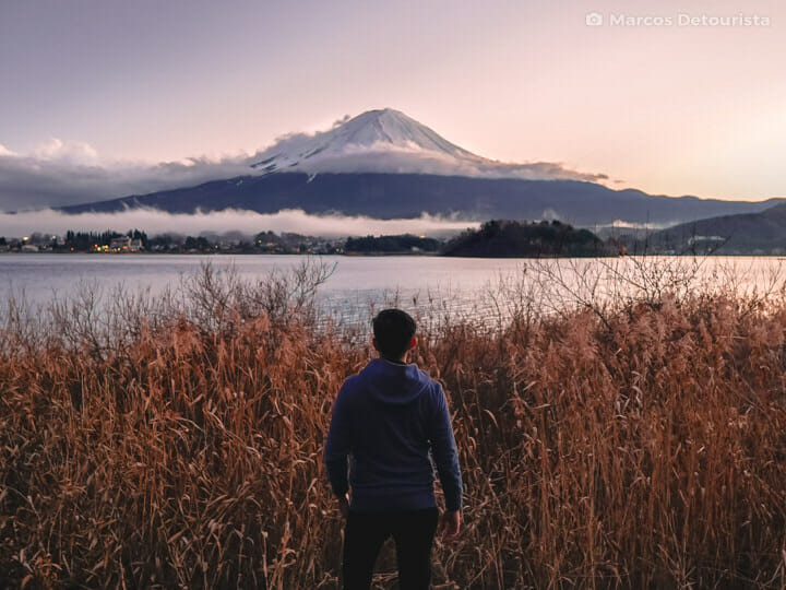 Marcos with Mount Fuji view, at Oishi Park, in Lake Kawaguchi, Y