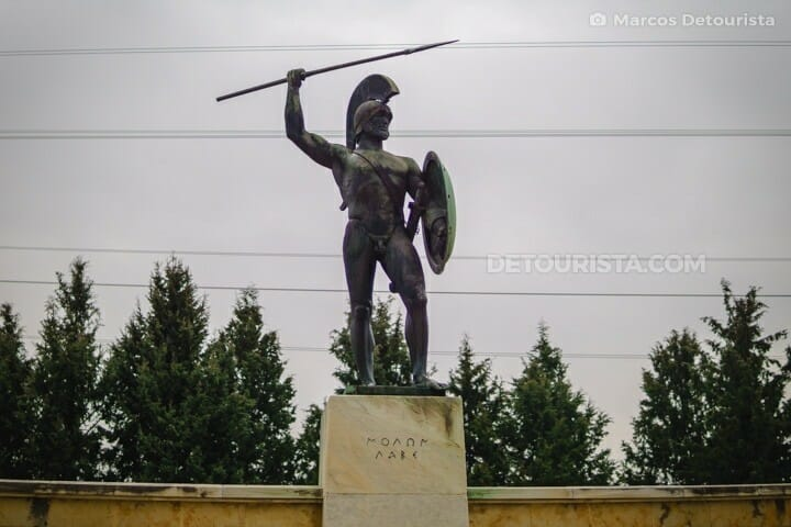 Monument of Leonidas, leader of  300 Spartans at the Battle of Thermopylae in Greece