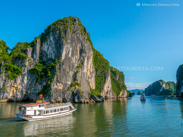 Cruise boats and blue sky, in Ha Long Bay, Quang Ninh, Vietnam