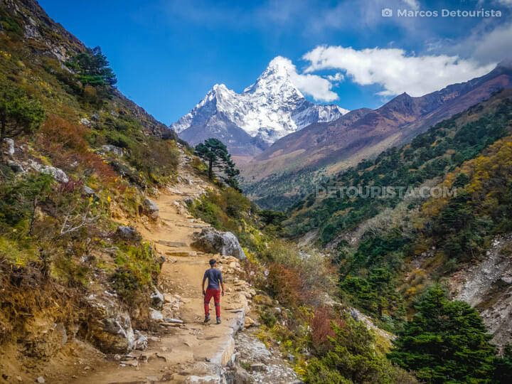 View of Ama Dablam on the trail from Tengboche to Dingboche, Everest Base Camp Trek, Nepal