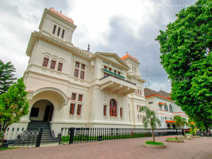 Bank Indonesia building near Malioboro Street in Yogyakarta, Jav