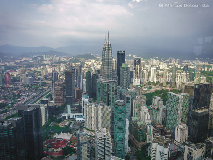 KL Tower view of Petronas Towers, in Kuala Lumpur, Malaysia