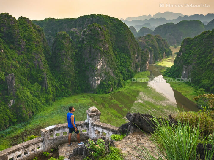 Overlooking the massive limestone mountains and winding river at