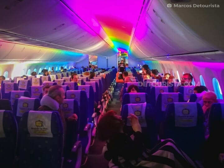 Colorful #scootitude cabin lights  on Scoot Athens-Singapore Flight