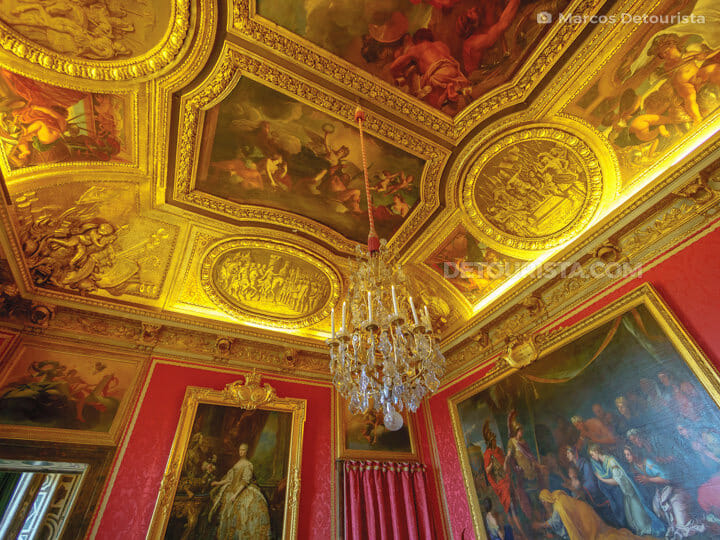Ceiling paintings and decor at the Palace of Versailles near Par