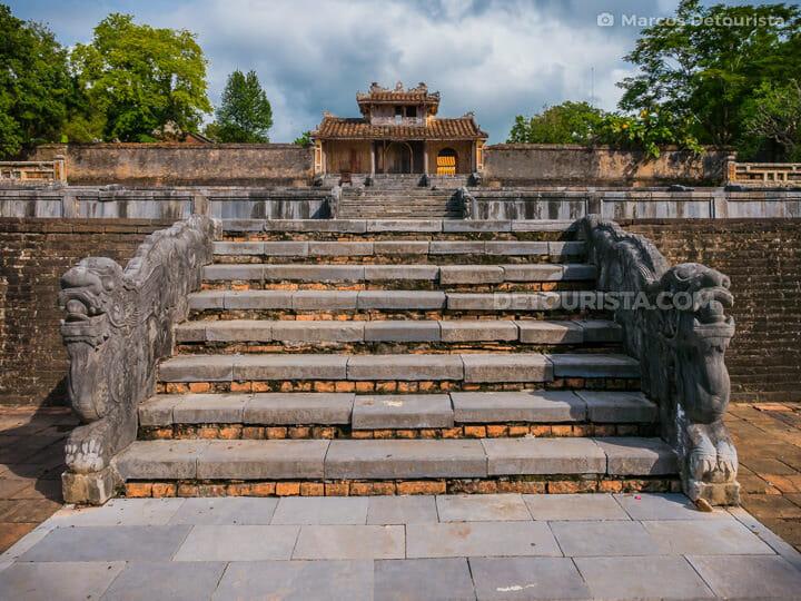 Base of the steps at Lang Thieu Tri (tomb) in Hue, Vietnam