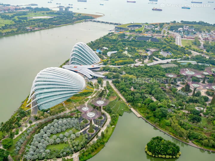 Marina Bay Sands Skypark view overlooking Gardens by the Bay, in Singapore