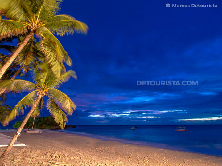 Punta Bunga Beach at night, in Boracay, Malay, Aklan, Philippines