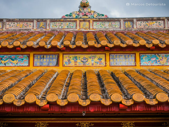 Ornate roof at Lang Thieu Tri (tomb), at the countryside in Hue, Vietnam