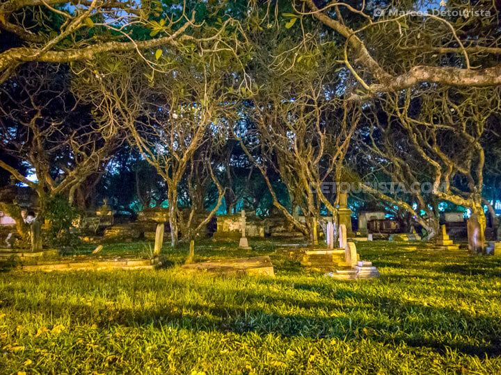 Old English cemetery at night