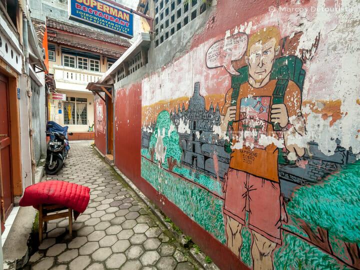 Jalan Sosrowijayan backpacker district, in Yogyakarta, Java, Ind