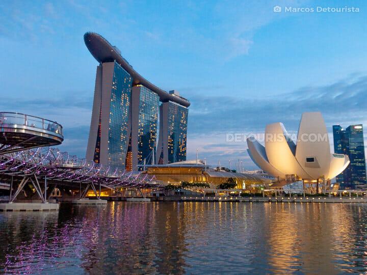 Marina Bay and Helix Bridge at night, in  Singapore