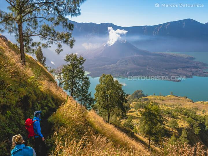 Mount rinjani volcano crater lake
