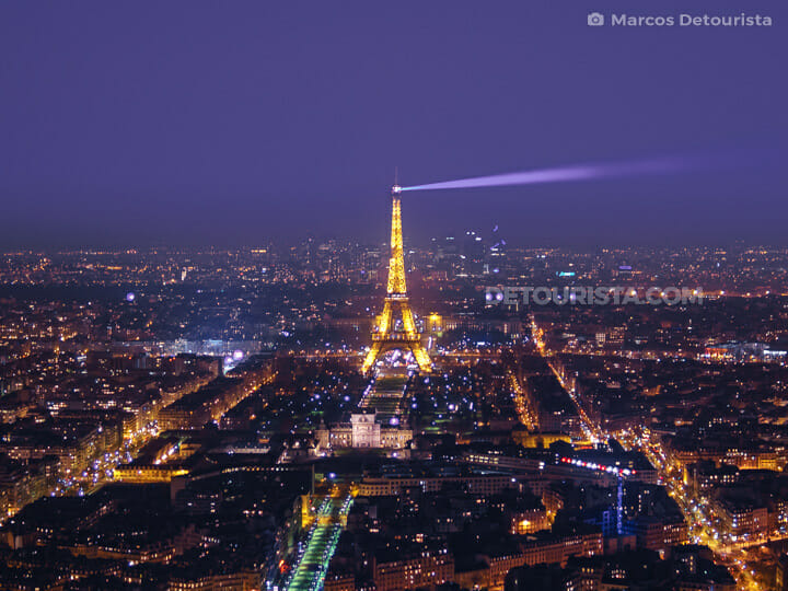 Eiffel Tower and Paris Skyline view from Montparnasse Tower, in