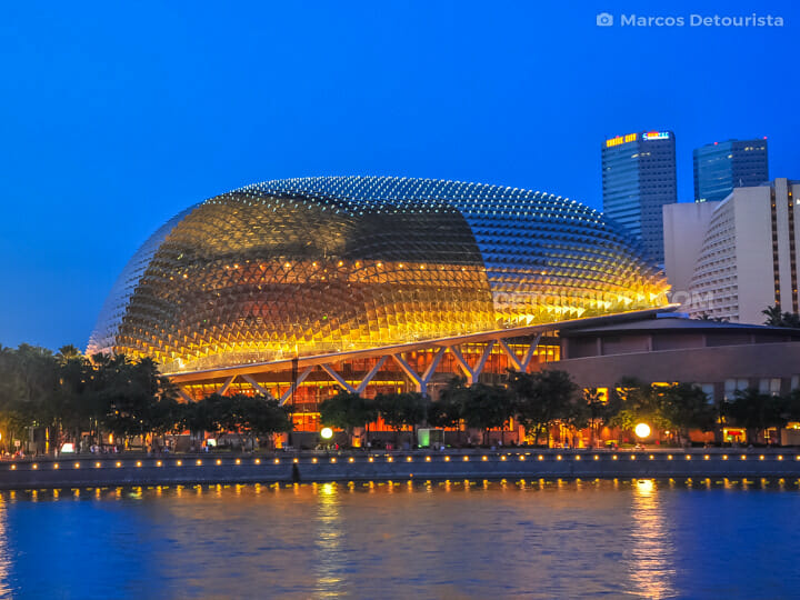 Esplanade Theatres by the Bay at night, in Singapore