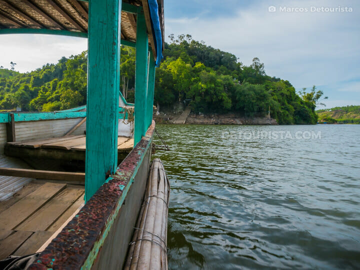 Local boat ride to Hon Chen Temple, at the countryside, in Hue, Vietnam