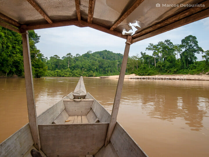 Wooden boat ride in Pahang Taman Negara, Malaysia
