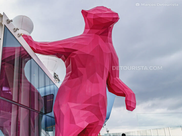 Giant Magenta Bear  - Quantum of the Seas by Royal Caribbean
