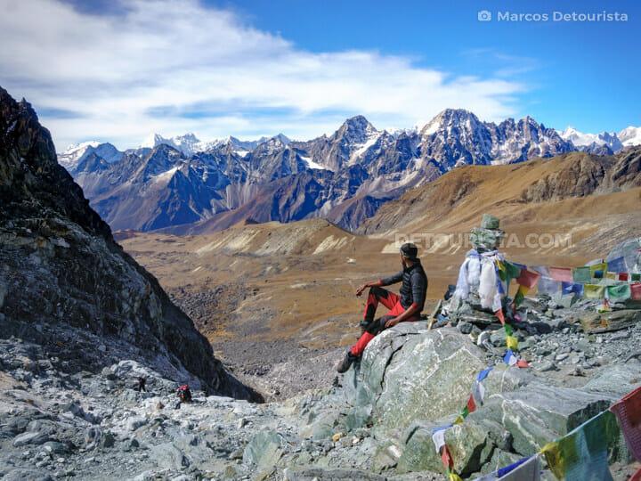 Cho La Pass view of Nepali and Tibetan Himalayas