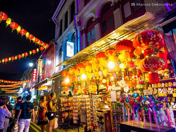 Chinatown colorful lanterns at night, in Singapore