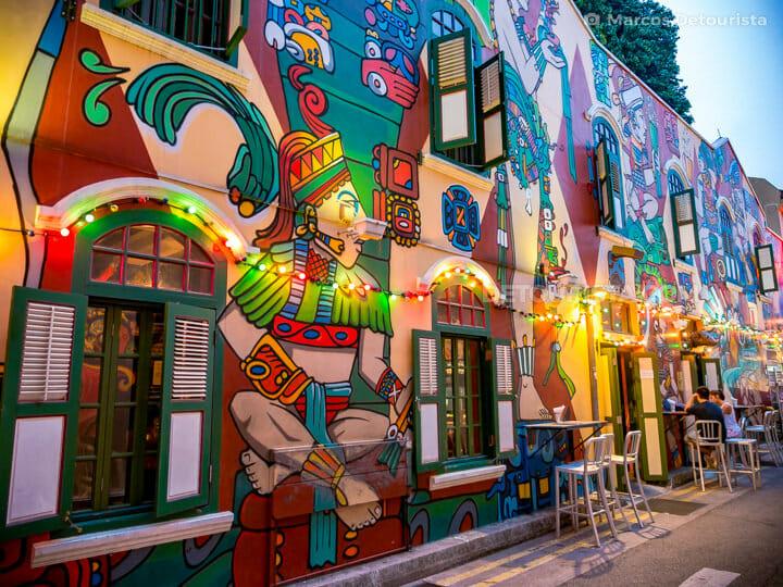 Kampong Glam - Haji Lane colorful street art, in Singapore