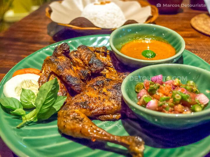 Taliwang Ayam (grilled chicken), in Mataram. Lombok Island, West Nusa Tenggara, Indonesia