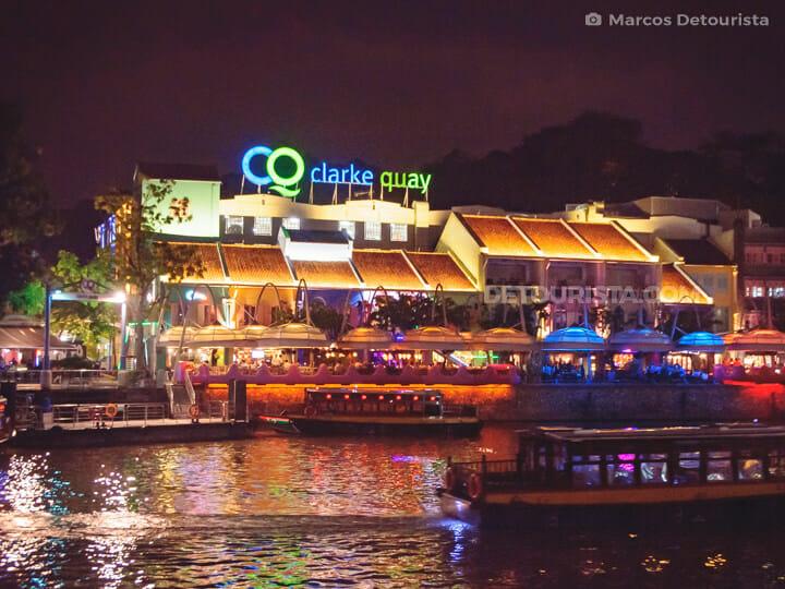 Clarke Quay at night, along Singapore River