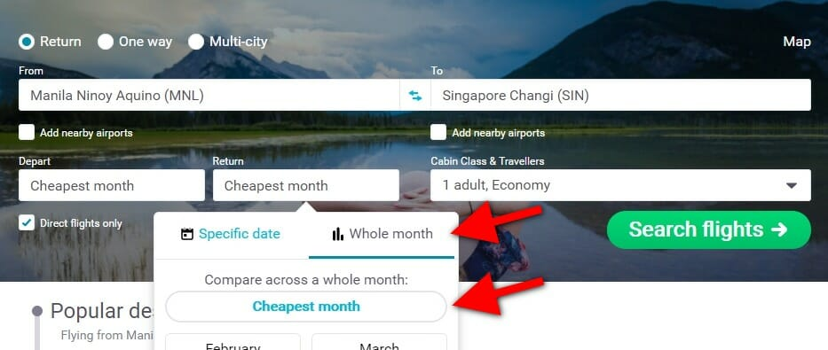 Skyscanner - Cheapest Month - Search Form - 2