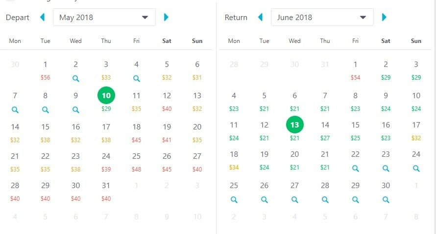 Skyscanner - Monthly view
